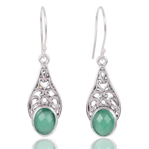 Green Onyx Gemstone 925 Sterling Silver Earring