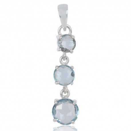 Natural Sky Blue Topaz Gemstone 925 Sterling Silver Pendant