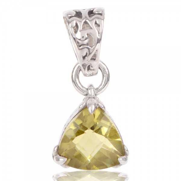 Lemon Quartz Gemstone 925 Sterling Silver Pendant