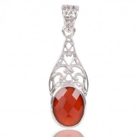 Red Onyx Gemstone 925 Sterling Silver Statement Pendant