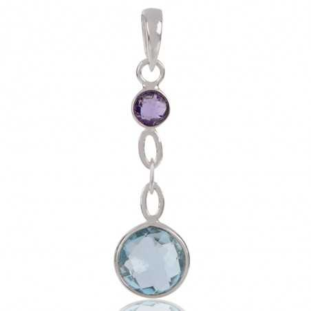 Sky Blue Topaz Amethyst Gemstone 925 Sterling Silver Cluster Pendant