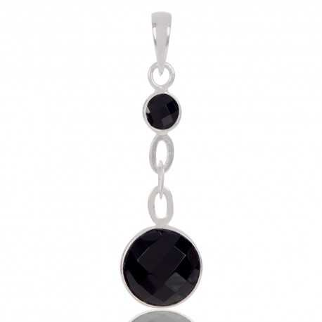 Natural Black Onyx Gemstone 925 Sterling Silver Cluster Pendant
