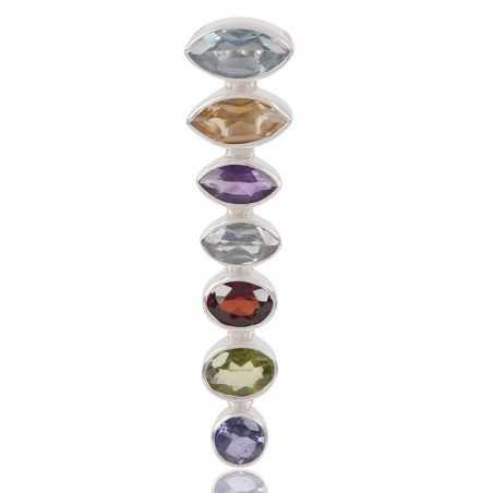 Natural MultiGemstone 925 Sterling Silver Cluster Pendant