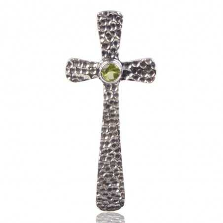 Peridot Gemstone 925 Sterling Silver Cross Pendant