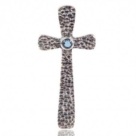 Swiss Blue Topaz Gemstone 925 Sterling Silver Cross Pendant