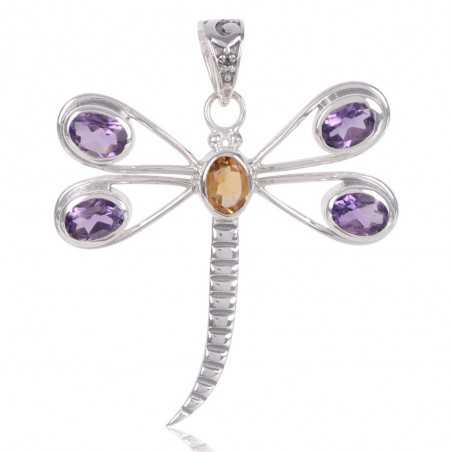 Butterfly Amethyst And Citrine Gemstone 925 Sterling Silver Pendant