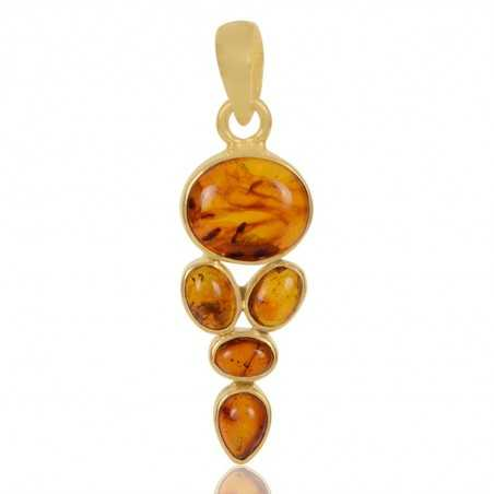 Amber Gemstone 925 Sterling Silver Gold Plated Pendant