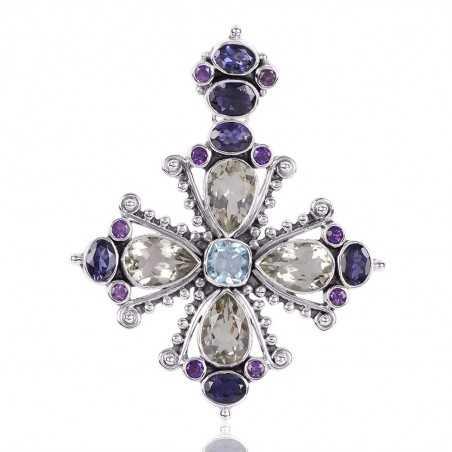 Green Amethyst Iolite And Sky Blue Topaz Gemstone 925 Sterling Silver Cluster Pendant