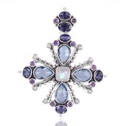 Iolite Amethyst Sky Blue Topaz And Rainbow Moonstone Gemstone 925 Sterling Silver Pendant