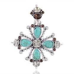 Smoky Quartz Tibetan Turquoise And Green Amethyst Gemstone 925 Sterling Silver Pendant