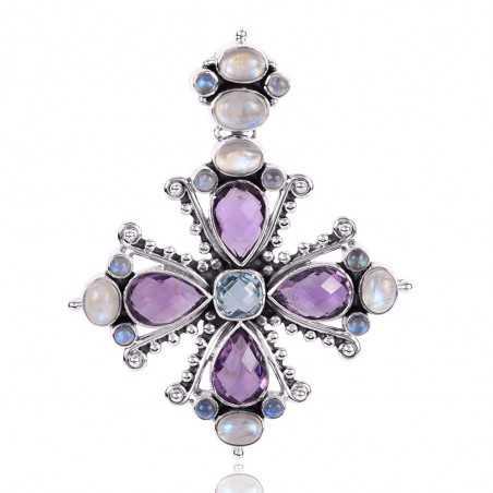 Amethyst MultiStone Gemstone 925 Sterling Silver Locket Pendant