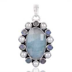 Aquamarine Labradorite And Pearl Gemstone 925 Sterling Silver Pendant