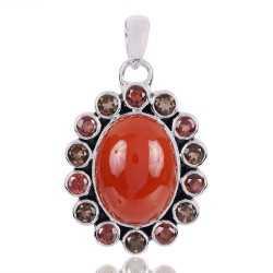 Garnet Red Onyx And smoky Quartz Gemstone 925 Sterling Silver Pendant