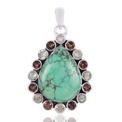 Tibetan Turquoise Smoky Quartz And Green Amethyst Gemstone 925 Sterling Silver Pendant