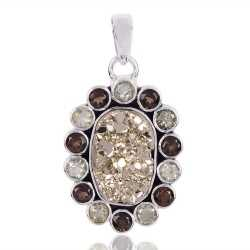 Pyrite Smoky Quartz And Green Amethyst Gemstone 925 Sterling Silver Pendant