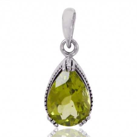 Natural Peridot Gemstone 925 Sterling Silver Cluster Pendant