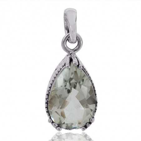 Natural Green Amethyst Gemstone 925 Sterling Silver Locket Pendant