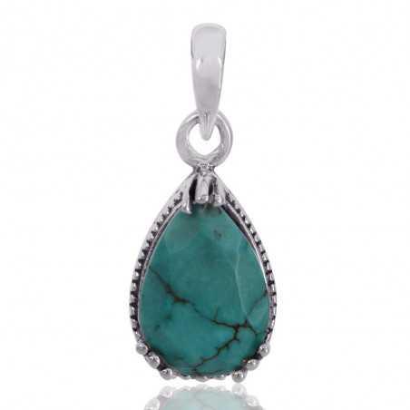 Tibetan Turquoise Gemstone 925 Sterling Silver Cluster Pendant