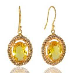 Yellow Gemstone and White Cubic Zirconia Gold Plated Fashion Designer Drop & Dangle Earring