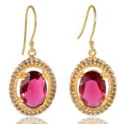 Red Gemstone and White Cubic Zirconia Gold Plated Fashion Earring
