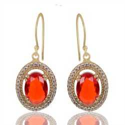 Orange Gemstone And White Cubic Zirconia Gold Plated Fashion Earring