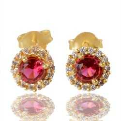 Red Gemstone And White Cubic Zirconia Gold Plated Stud Earring