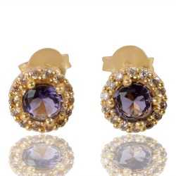 Purple Gemstone And White Cubic Zirconia Gold Plated Stud Earring