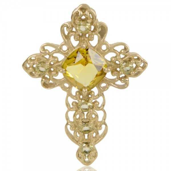 Yellow Gemstone Gold Plated Fashion Designer Cross Pendant