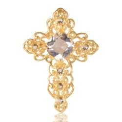 White Gemstone Gold Plated Fashion Designer Cross Pendant