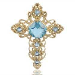 Sky Blue Gemstone Gold Plated Fashion Designer Cross Pendant