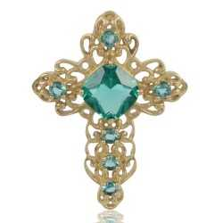 Green Gemstone Gold Plated Fashion Designer Cross Pendant