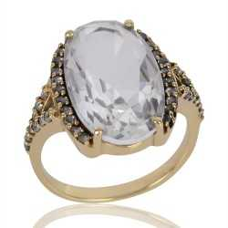 White Clear Gemstone and White Cubic Zirconia Gold Plated Fashion Designer Ring