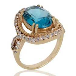 London Topaz Gemstone and White Cubic Zirconia Gold Plated Fashion Ring
