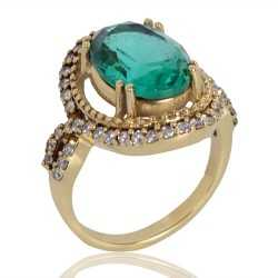 Light Green Gemstone and White Cubic Zirconia Gold Plated Fashion Ring