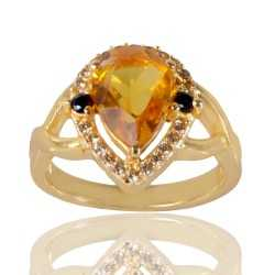 Black Spinal Yellow Gemstone and White Cubic Zirconia Gold Plated Fashion Ring