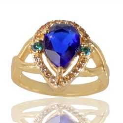 Tanzanite Sky Blue Gemstone and White Cubic Zirconia Gold Plated Fashion Ring