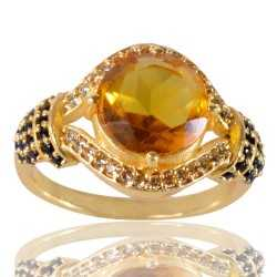 Yellow Gemstone Black Spinal Gemstone And White Cubic Zirconia Gold Plated Brass Ring