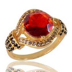 Red Gemstone Black Spinal Gemstone And White Cubic Zirconia Gold Plated Brass Ring