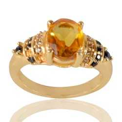 Yellow Gemstone Black Spinal Stone and White Cubic Zirconia Gold Plated Designer Ring