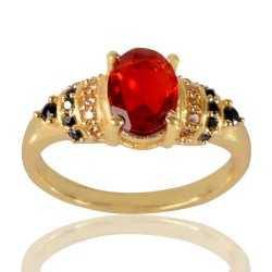 Red Gemstone Black Spinal Stone and White Cubic Zirconia Gold Plated Designer Ring