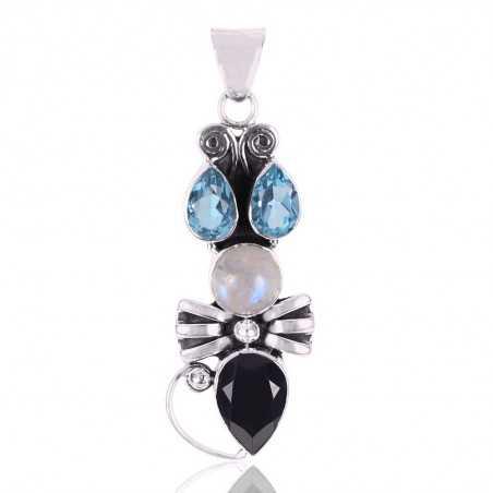 Black Onyx Rainbow Moonstone And Swiss Blue Topaz Gemstone 925 Sterling Silver Pendant