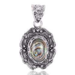 Abalone Shell Gemstone 925 Sterling Silver Pendant