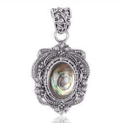 Abalone Shell Gemstone 925 Sterling Silver Locket Pendant