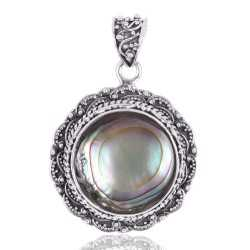Natural Abalone Shell Gemstone 925 Sterling Silver Statement Pendant