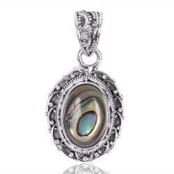 Natural Abalone Shell Oval Shape Gemstone 925 Sterling Silver Pendant