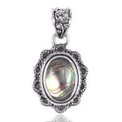 Exclusive Abalone Shell Solid Silver Pendant Necklace