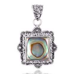 Ethnic Design Abalone Shell Sterling Silver Pendant