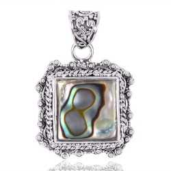 Sterling Silver Abalone Shell Charm Pendant