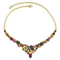 Tabasco Geode And Touramline Gemstone 925 Sterling Silver Necklace