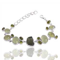 Moldvite And Multigemstone 925 Sterling Silver Bracelet